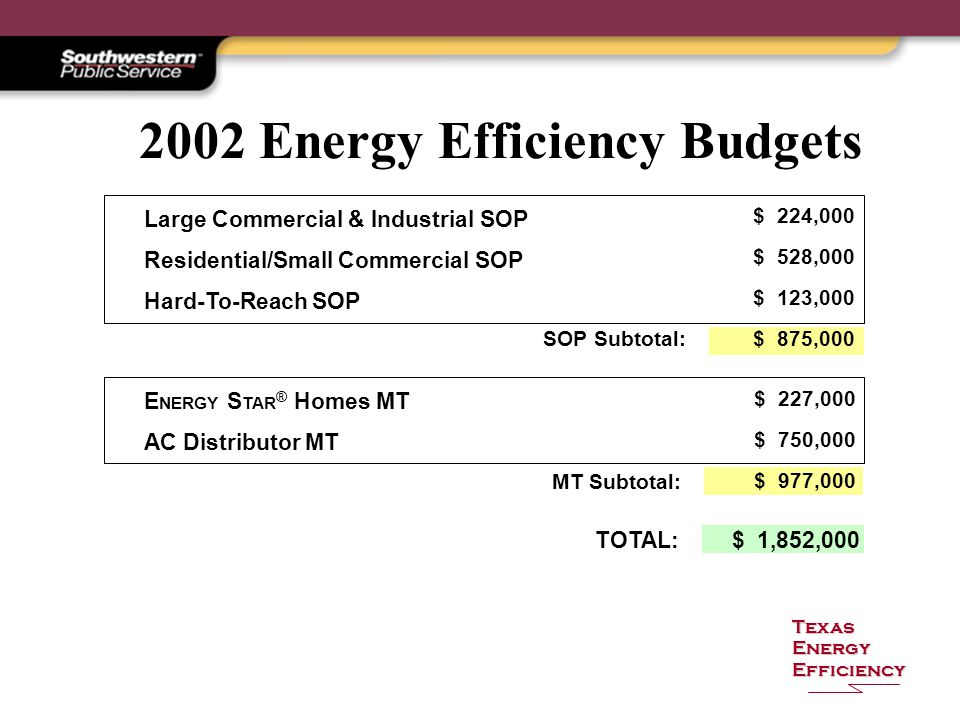 Texas Energy Efficiency 2002 Energy Efficiency Budgets Large Commercial & Industrial SOP Residential/Small Commercial SOP Hard-To-Reach SOP $ 224,000 $ 528,000 $ 123,000 $ 875,000 SOP Subtotal: E NERGY S TAR ® Homes MT AC Distributor MT $ 227,000 $ 750,000 $ 977,000 MT Subtotal: TOTAL:$ 1,852,000