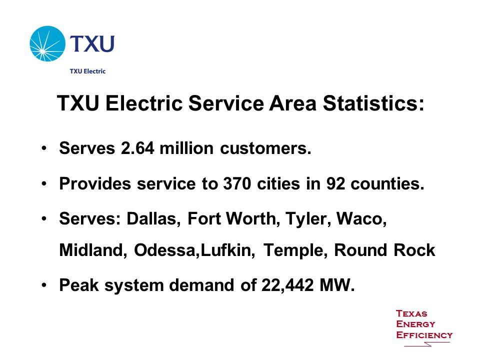 TXU Electric Service Area Statistics: Serves 2.64 million customers.