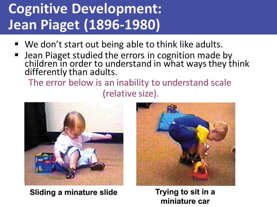 Cognitive Development: Jean Piaget (1896-1980)  We don't start out being able to think like adults.