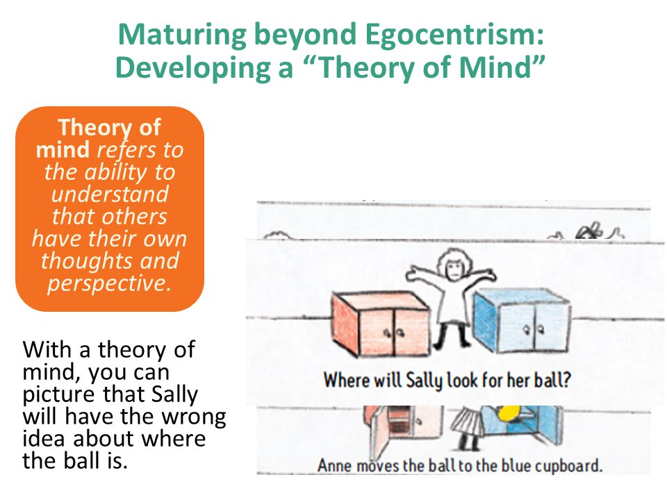 Maturing beyond Egocentrism: Developing a Theory of Mind Theory of mind refers to the ability to understand that others have their own thoughts and perspective.