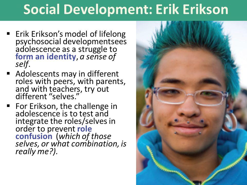 Social Development: Erik Erikson  Erik Erikson's model of lifelong psychosocial developmentsees adolescence as a struggle to form an identity, a sense of self.