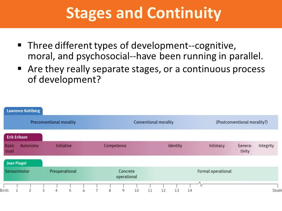Stages and Continuity  Three different types of development--cognitive, moral, and psychosocial--have been running in parallel.