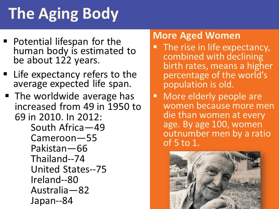 More Aged Women  The rise in life expectancy, combined with declining birth rates, means a higher percentage of the world's population is old.