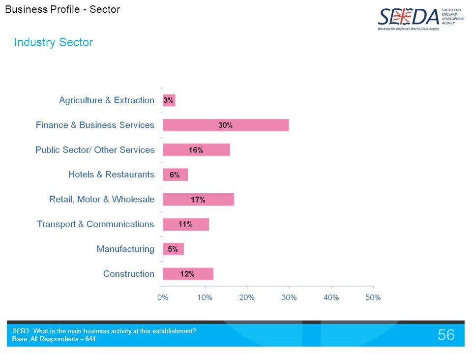 56 Industry Sector SCR3. What is the main business activity at this establishment.