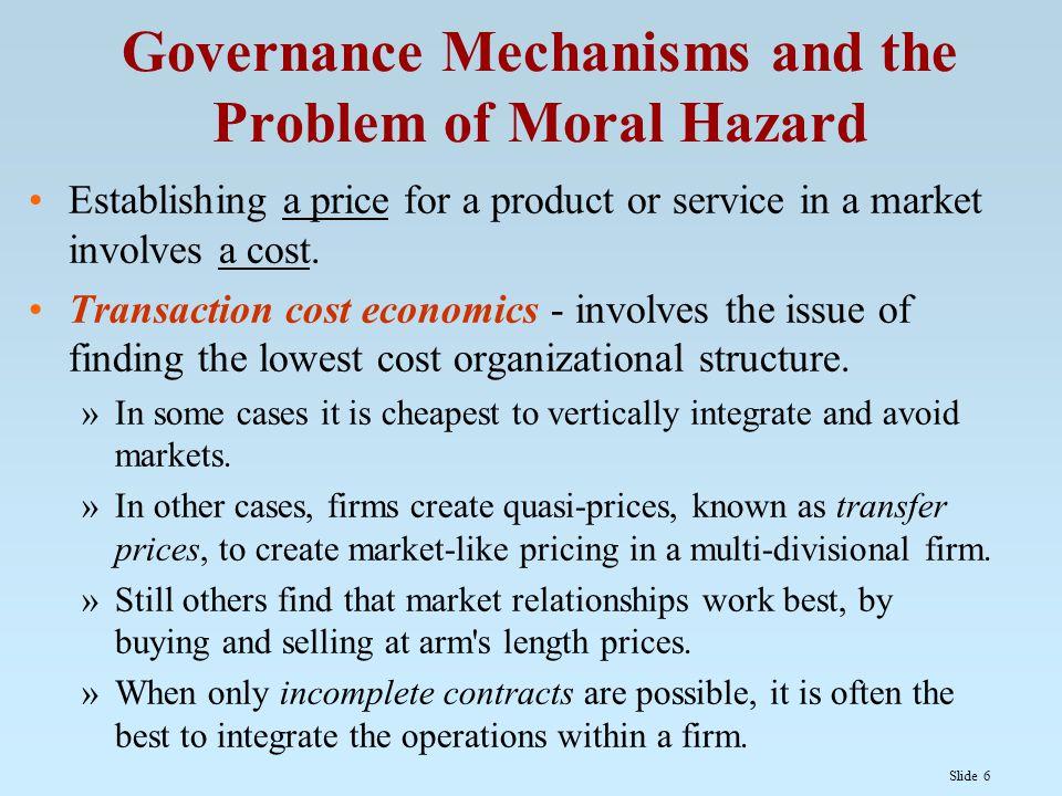Slide 7 Moral Hazard Moral hazard occurs when parties change their behavior due to contracts.