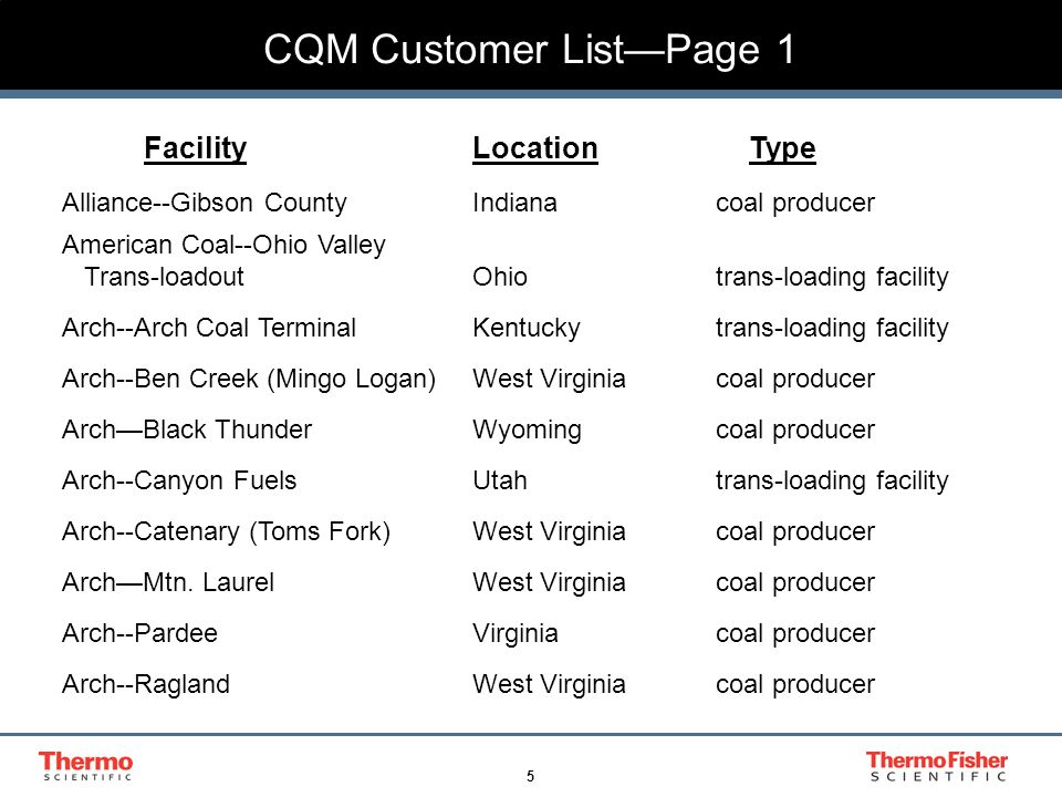 5 CQM Customer List—Page 1 FacilityLocation Type Alliance--Gibson CountyIndianacoal producer American Coal--Ohio Valley Trans-loadoutOhiotrans-loading