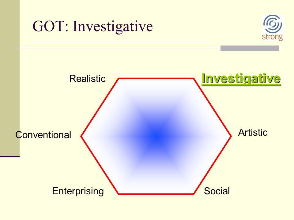 GOT: Investigative Investigative EnterprisingSocial Artistic Conventional Realistic