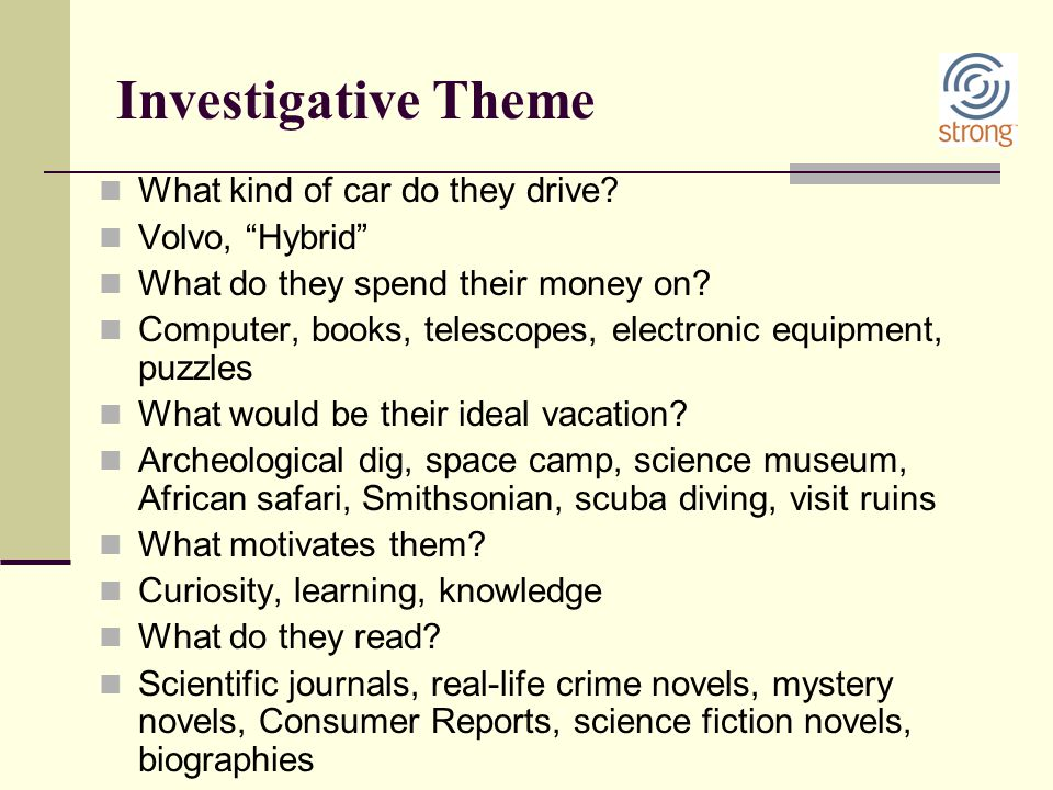 """Investigative Theme What kind of car do they drive? Volvo, """"Hybrid"""" What do they spend their money on? Computer, books, telescopes, electronic equipme"""