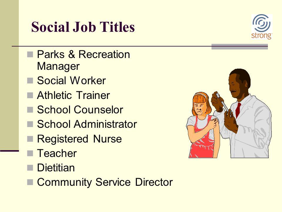 Social Job Titles Parks & Recreation Manager Social Worker Athletic Trainer School Counselor School Administrator Registered Nurse Teacher Dietitian C