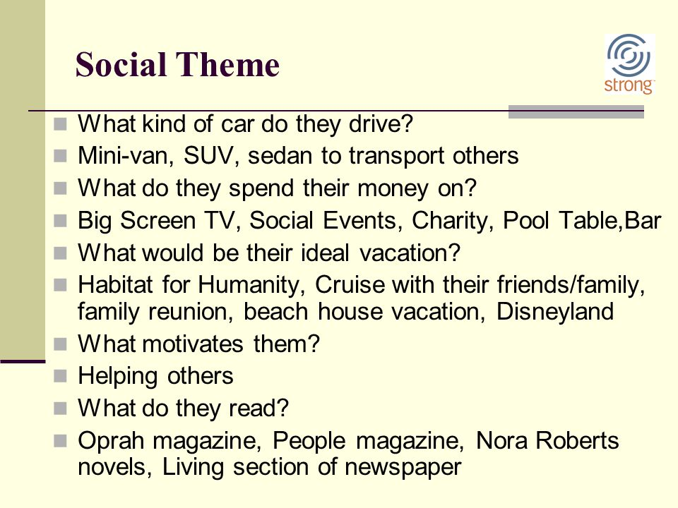 Social Theme What kind of car do they drive? Mini-van, SUV, sedan to transport others What do they spend their money on? Big Screen TV, Social Events,
