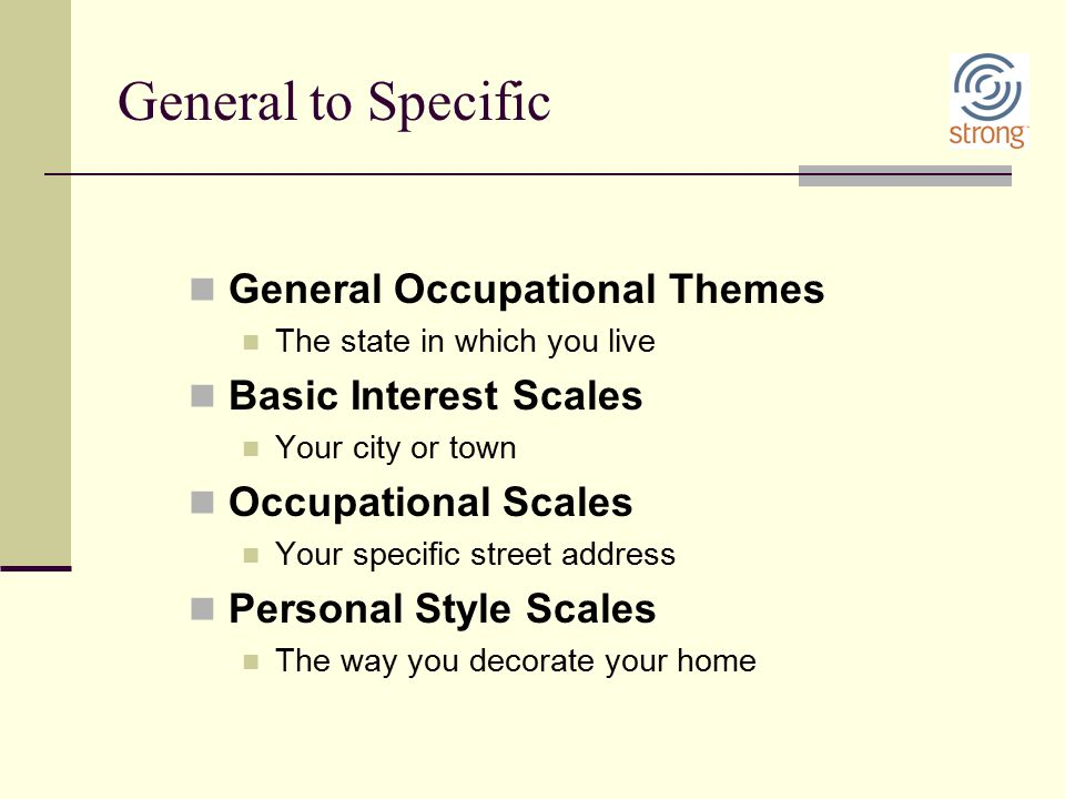 General to Specific General Occupational Themes The state in which you live Basic Interest Scales Your city or town Occupational Scales Your specific