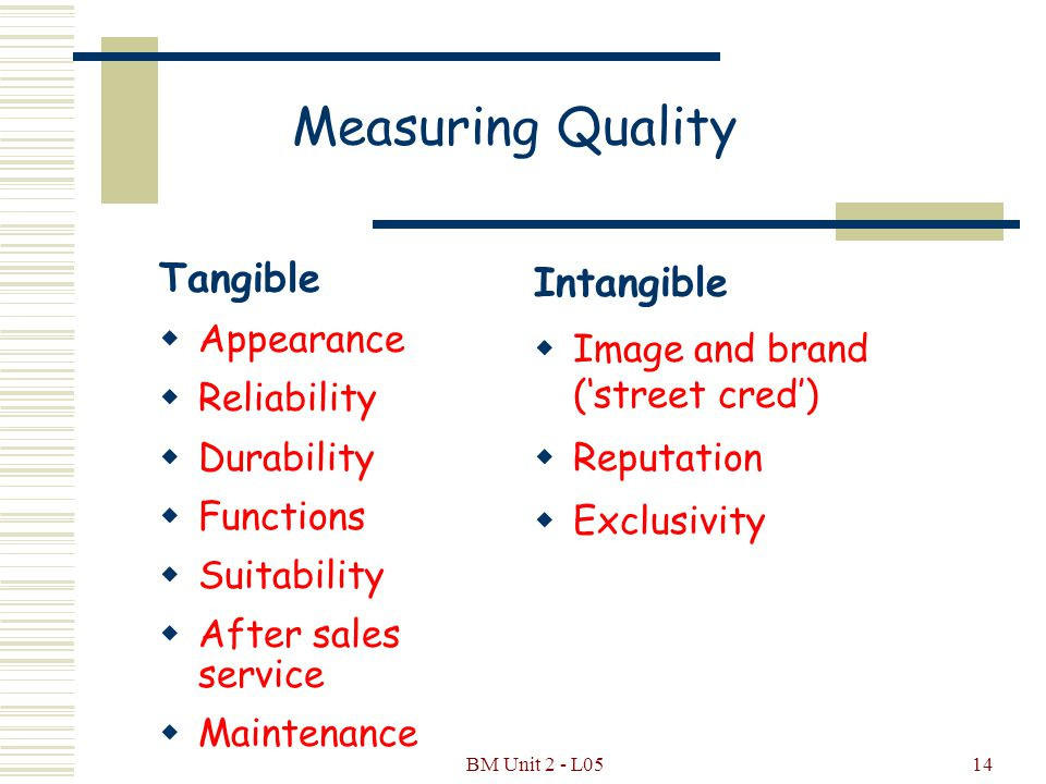 BM Unit 2 - L0513 Quality - A Definition  Those features of a product or service that allow it to satisfy customers' requirements