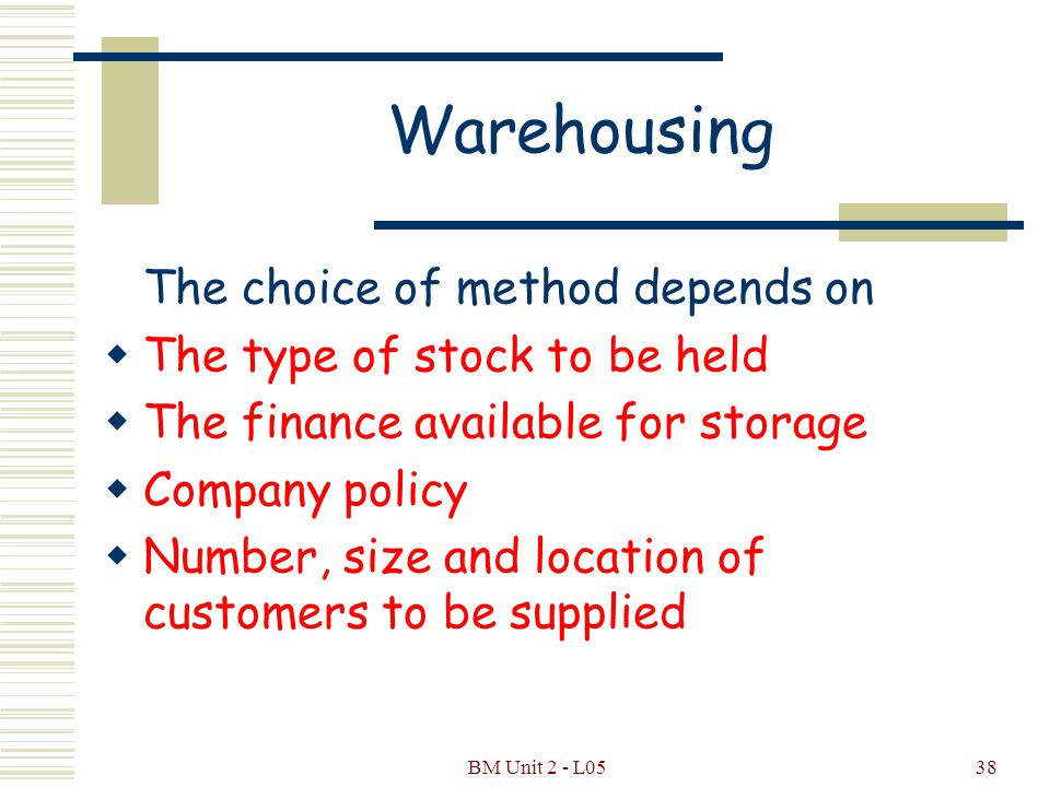 BM Unit 2 - L0537 Warehousing There are two methods of warehousing 1.Centralised 2.Decentralised