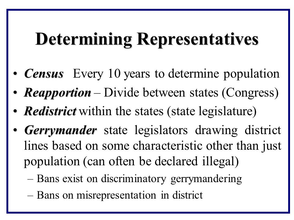 Determining Representatives CensusCensus Every 10 years to determine population ReapportionReapportion – Divide between states (Congress) RedistrictRedistrict within the states (state legislature) GerrymanderGerrymander state legislators drawing district lines based on some characteristic other than just population (can often be declared illegal) –Bans exist on discriminatory gerrymandering –Bans on misrepresentation in district