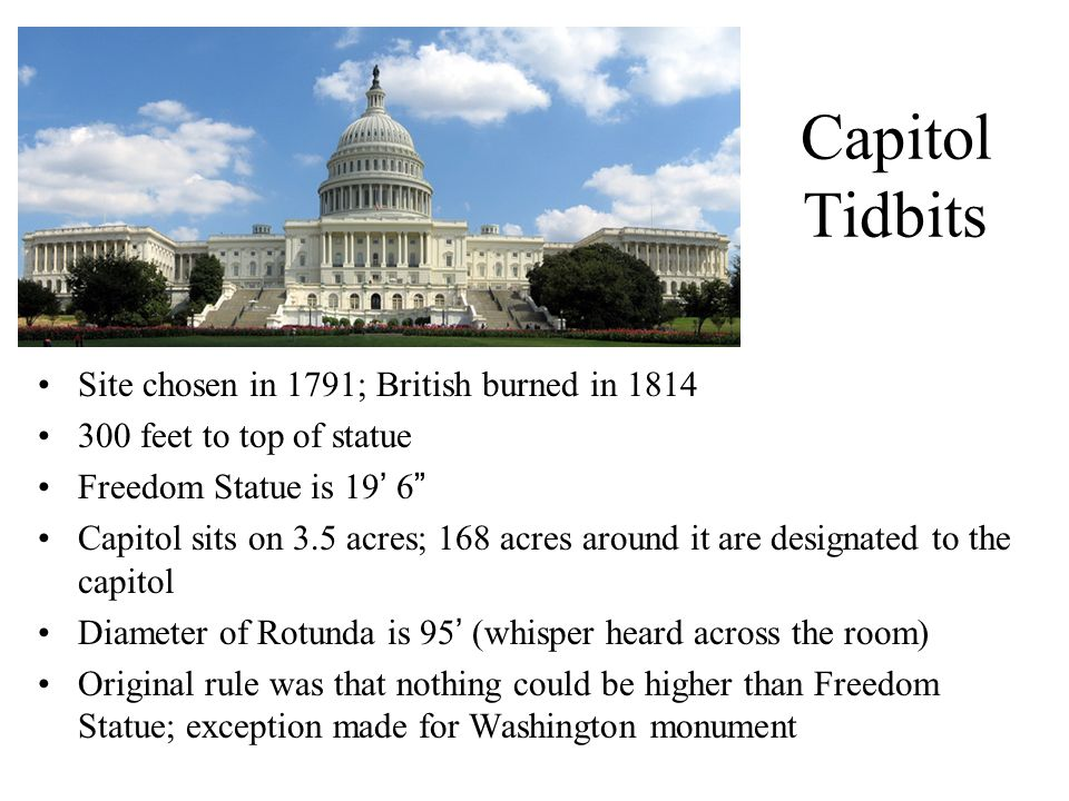 Capitol Tidbits Site chosen in 1791; British burned in 1814 300 feet to top of statue Freedom Statue is 19' 6 Capitol sits on 3.5 acres; 168 acres around it are designated to the capitol Diameter of Rotunda is 95' (whisper heard across the room) Original rule was that nothing could be higher than Freedom Statue; exception made for Washington monument