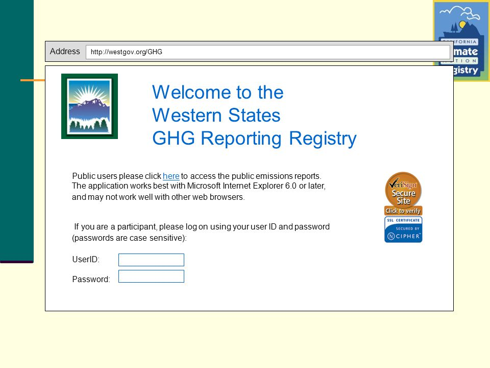 Address http://westgov.org/GHG Public users please click here to access the public emissions reports. The application works best with Microsoft Intern