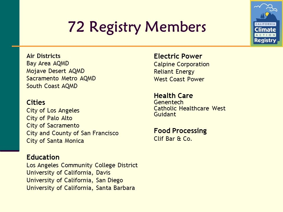 72 Registry Members Air Districts Bay Area AQMD Mojave Desert AQMD Sacramento Metro AQMD South Coast AQMD Cities City of Los Angeles City of Palo Alto