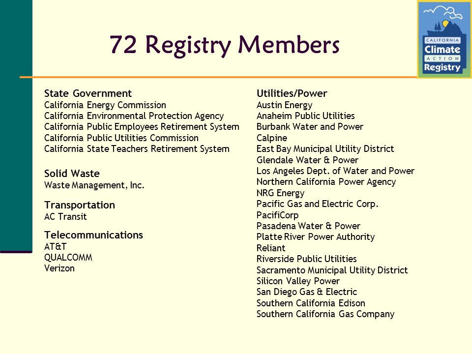72 Registry Members State Government California Energy Commission California Environmental Protection Agency California Public Employees Retirement System California Public Utilities Commission California State Teachers Retirement System Solid Waste Waste Management, Inc.