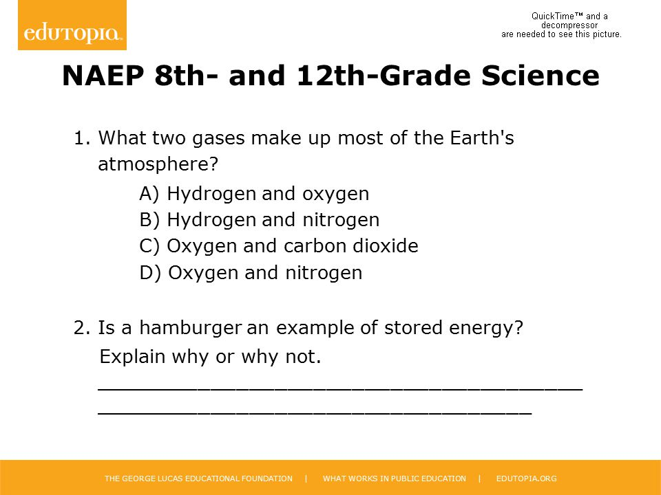 THE GEORGE LUCAS EDUCATIONAL FOUNDATION | WHAT WORKS IN PUBLIC EDUCATION | EDUTOPIA.ORG NAEP 8th- and 12th-Grade Science 1. What two gases make up mos