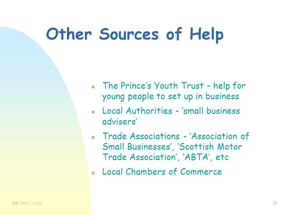 BM Unit 1 - LO133 Government Help for Businesses n Local Enterprise Companies n Education/Business Partnerships n Business Start-up Scheme n Loan Guar