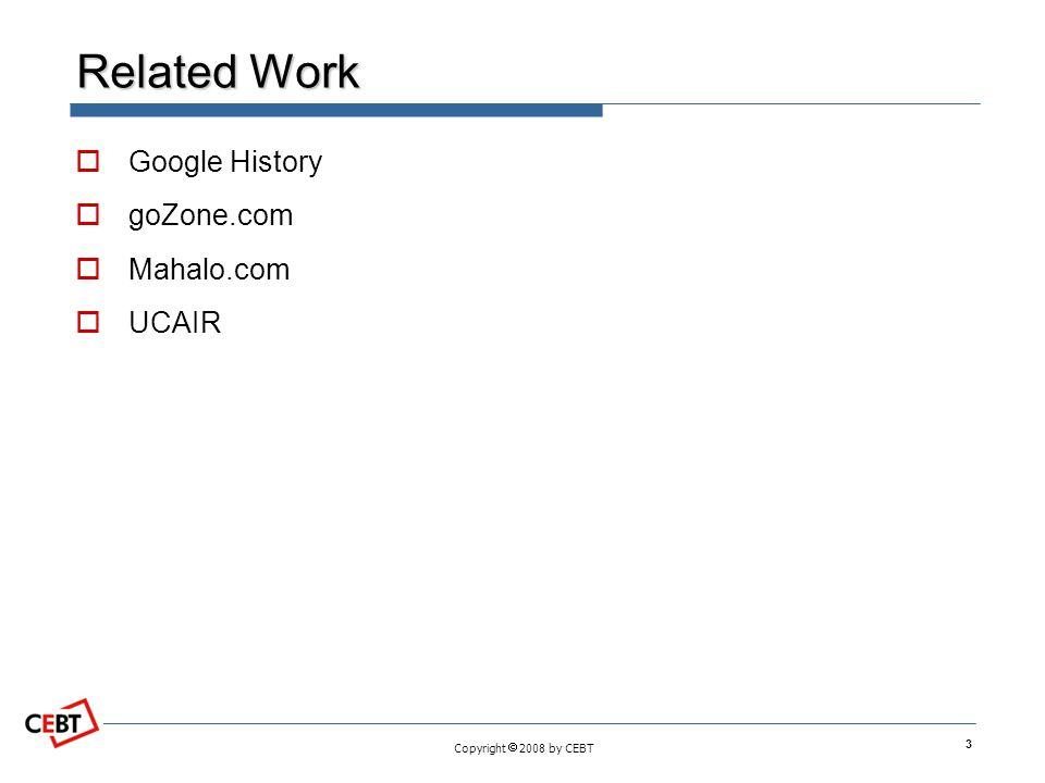 Copyright  2008 by CEBT Related Work  Google History  goZone.com  Mahalo.com  UCAIR 3