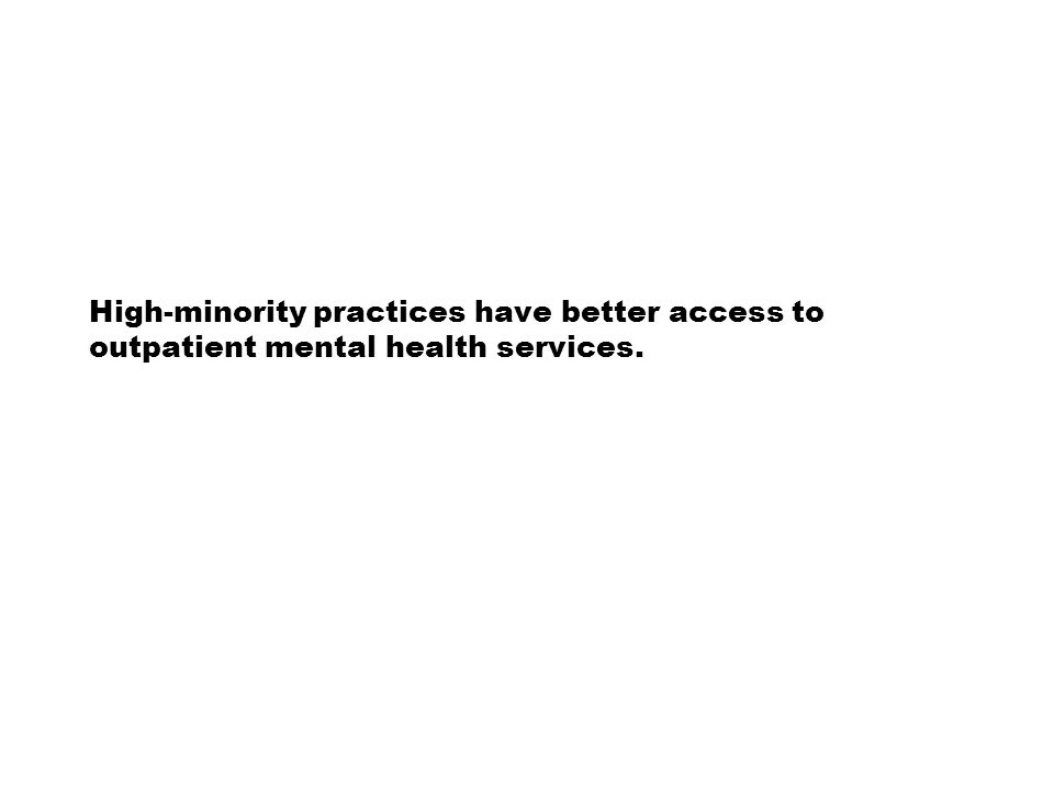 High-minority practices have better access to outpatient mental health services.