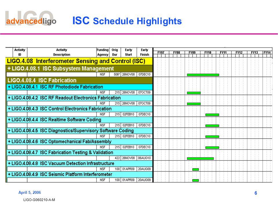 LIGO-G060210-A-M April 5, 2006 6 ISC Schedule Highlights
