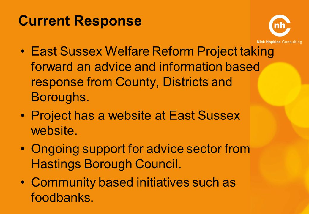 Current Response East Sussex Welfare Reform Project taking forward an advice and information based response from County, Districts and Boroughs.