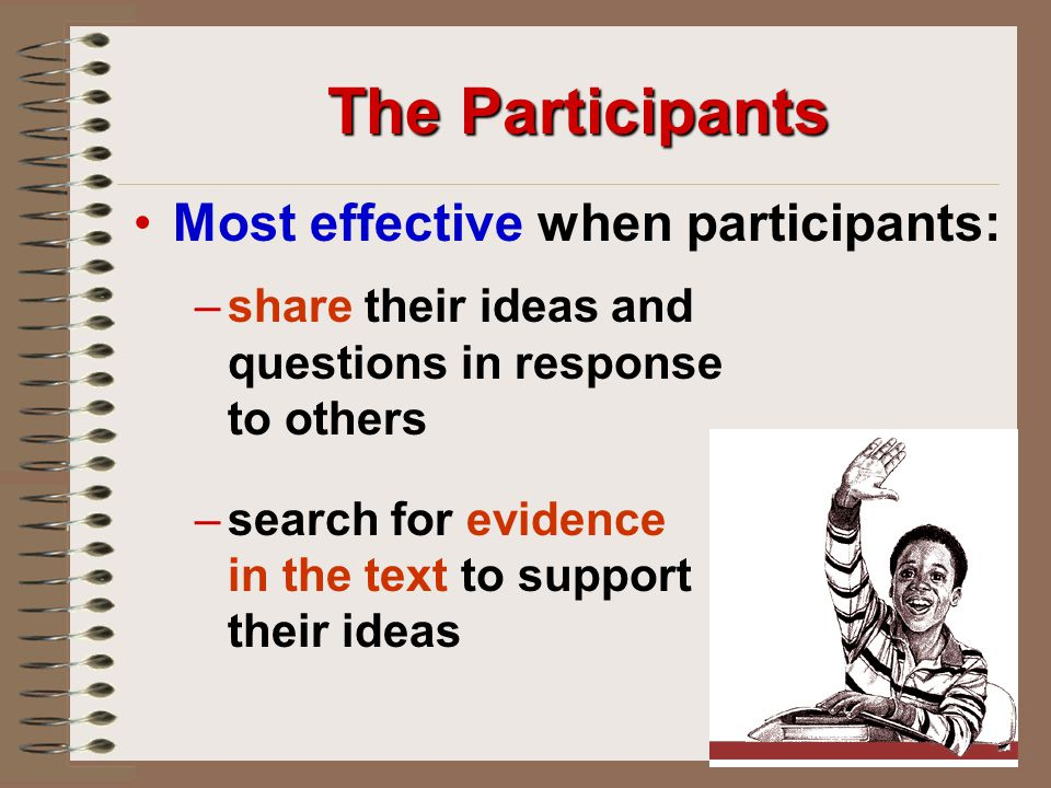 The Participants Most effective when participants: –share their ideas and questions in response to others –search for evidence in the text to support their ideas