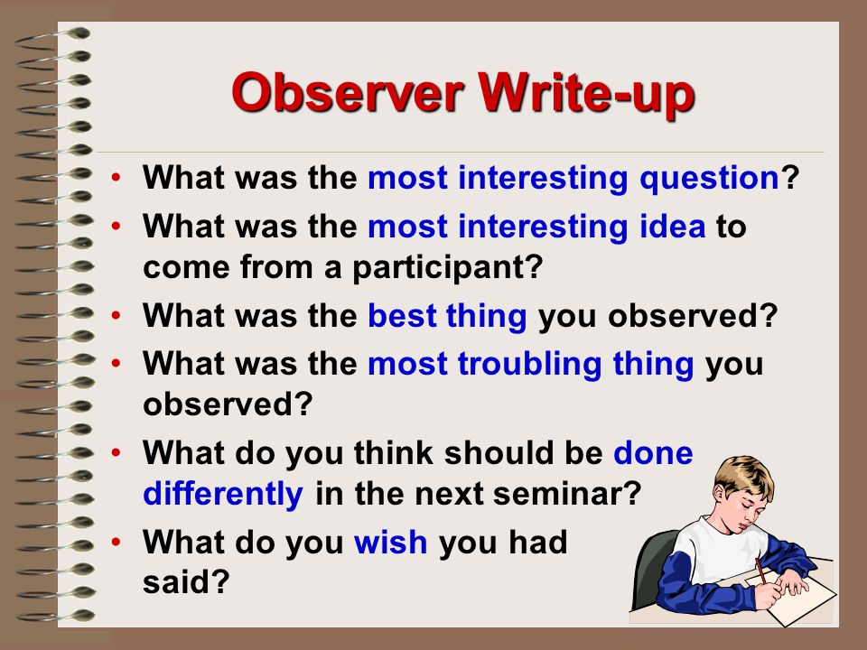 Observer Write-up What was the most interesting question.