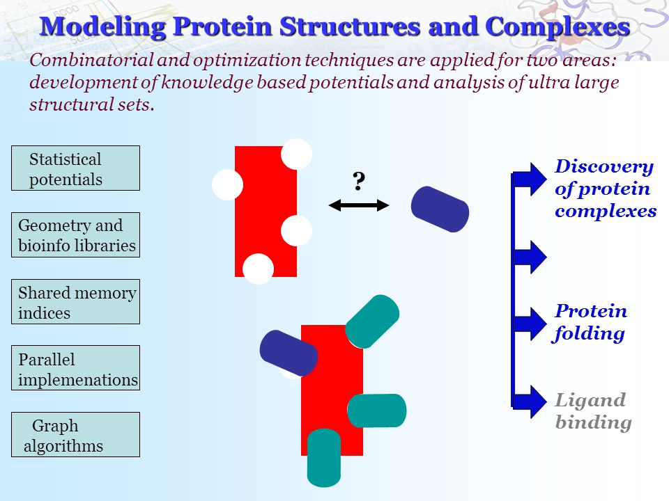 Modeling Protein Structures and Complexes Combinatorial and optimization techniques are applied for two areas: development of knowledge based potentials and analysis of ultra large structural sets.