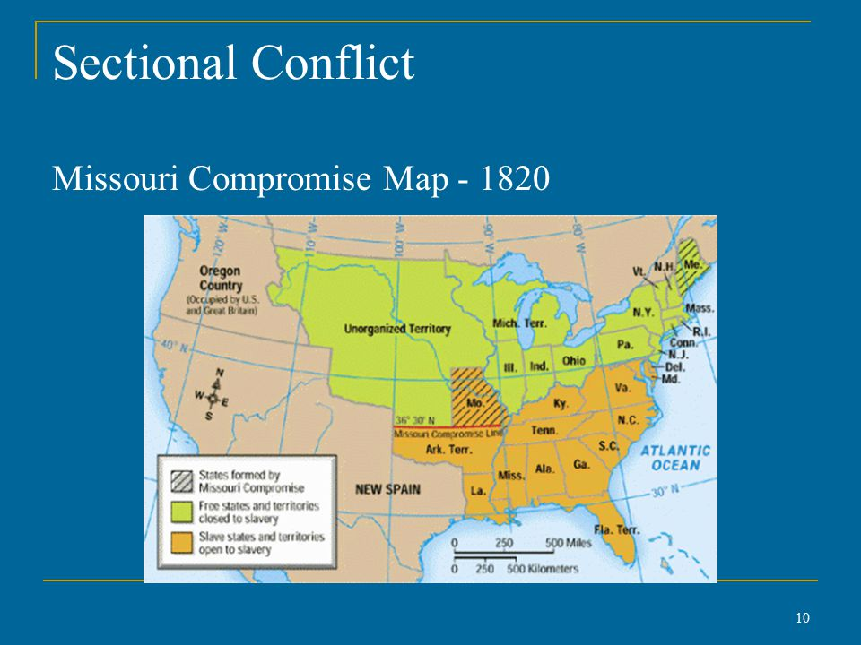 Sectional Conflict Missouri Compromise Map - 1820 10