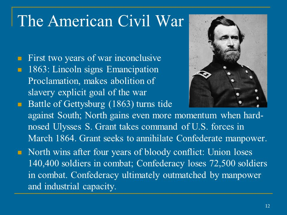 The American Civil War First two years of war inconclusive 1863: Lincoln signs Emancipation Proclamation, makes abolition of slavery explicit goal of the war Battle of Gettysburg (1863) turns tide against South; North gains even more momentum when hard- nosed Ulysses S.