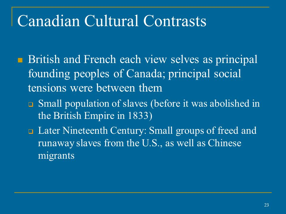Canadian Cultural Contrasts British and French each view selves as principal founding peoples of Canada; principal social tensions were between them  Small population of slaves (before it was abolished in the British Empire in 1833)  Later Nineteenth Century: Small groups of freed and runaway slaves from the U.S., as well as Chinese migrants 23