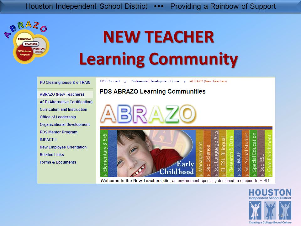 Houston Independent School District  Providing a Rainbow of Support NEW TEACHER Learning Community 56