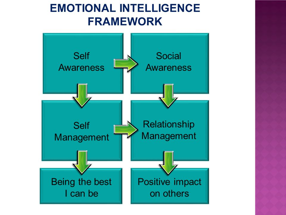 Self Management Self Awareness Social Awareness Relationship Management Positive impact on others Being the best I can be EMOTIONAL INTELLIGENCE FRAMEWORK