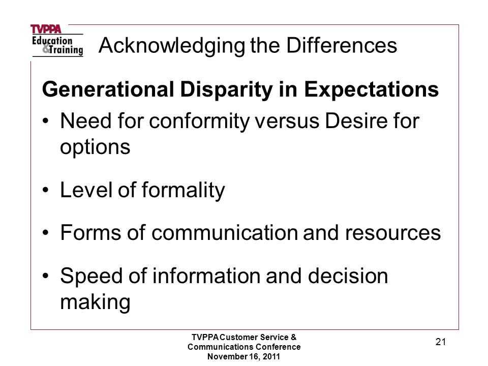 Acknowledging the Differences Generational Disparity in Expectations Need for conformity versus Desire for options Level of formality Forms of communication and resources Speed of information and decision making TVPPA Customer Service & Communications Conference November 16, 2011 21