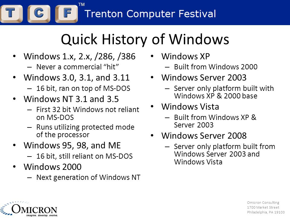 Omicron Consulting 1700 Market Street Philadelphia, PA 19103 Quick History of Windows Windows 1.x, 2.x, /286, /386 – Never a commercial hit Windows 3.0, 3.1, and 3.11 – 16 bit, ran on top of MS-DOS Windows NT 3.1 and 3.5 – First 32 bit Windows not reliant on MS-DOS – Runs utilizing protected mode of the processor Windows 95, 98, and ME – 16 bit, still reliant on MS-DOS Windows 2000 – Next generation of Windows NT Windows XP – Built from Windows 2000 Windows Server 2003 – Server only platform built with Windows XP & 2000 base Windows Vista – Built from Windows XP & Server 2003 Windows Server 2008 – Server only platform built from Windows Server 2003 and Windows Vista