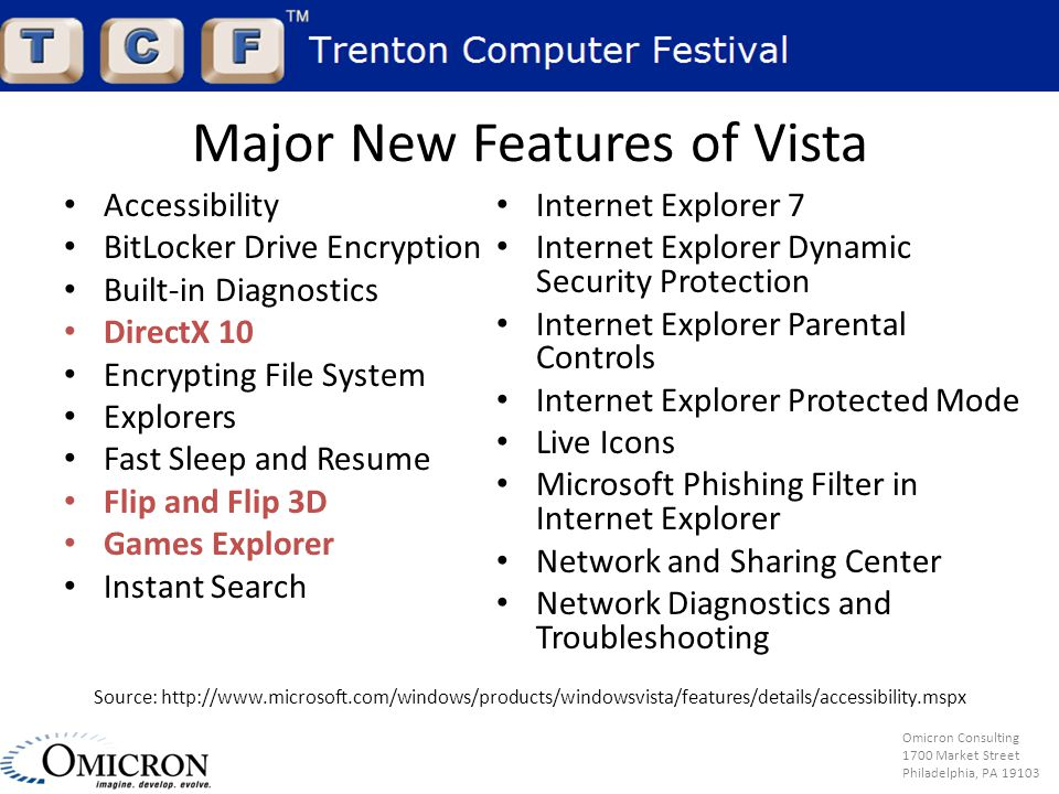 Omicron Consulting 1700 Market Street Philadelphia, PA 19103 Major New Features of Vista Accessibility BitLocker Drive Encryption Built-in Diagnostics DirectX 10 Encrypting File System Explorers Fast Sleep and Resume Flip and Flip 3D Games Explorer Instant Search Internet Explorer 7 Internet Explorer Dynamic Security Protection Internet Explorer Parental Controls Internet Explorer Protected Mode Live Icons Microsoft Phishing Filter in Internet Explorer Network and Sharing Center Network Diagnostics and Troubleshooting Source: http://www.microsoft.com/windows/products/windowsvista/features/details/accessibility.mspx