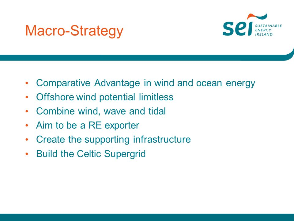 Macro-Strategy Comparative Advantage in wind and ocean energy Offshore wind potential limitless Combine wind, wave and tidal Aim to be a RE exporter Create the supporting infrastructure Build the Celtic Supergrid