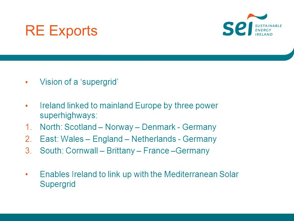 RE Exports Vision of a 'supergrid' Ireland linked to mainland Europe by three power superhighways: 1.