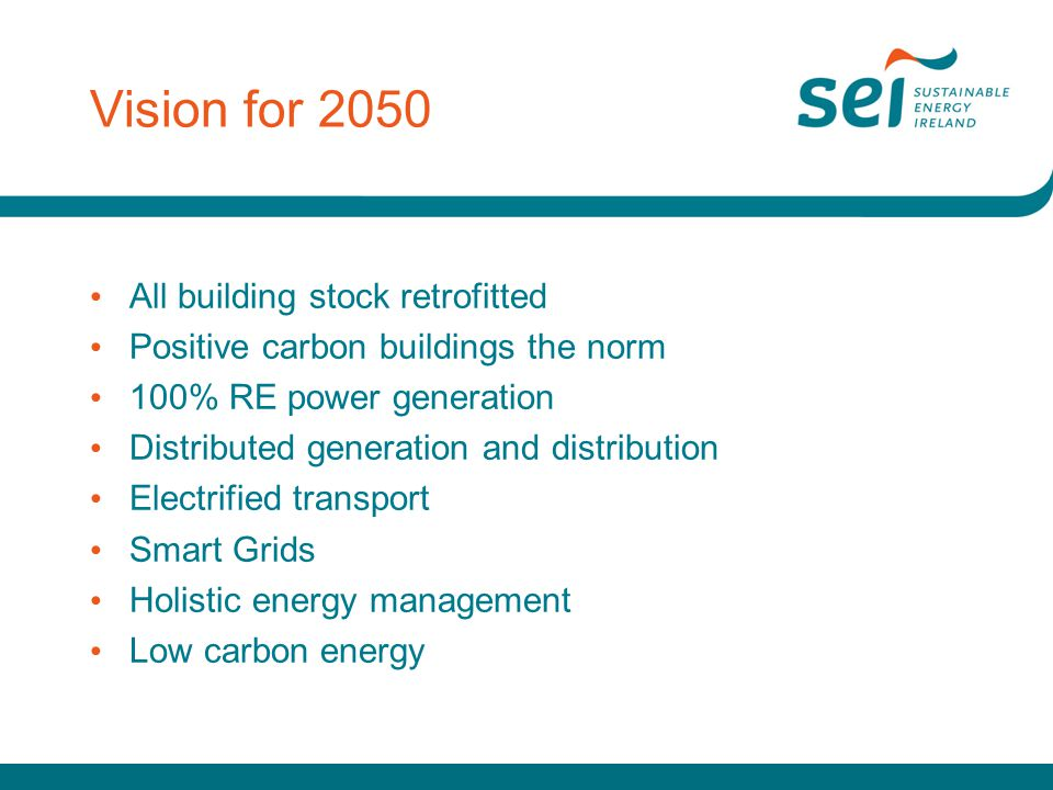 Vision for 2050 All building stock retrofitted Positive carbon buildings the norm 100% RE power generation Distributed generation and distribution Electrified transport Smart Grids Holistic energy management Low carbon energy