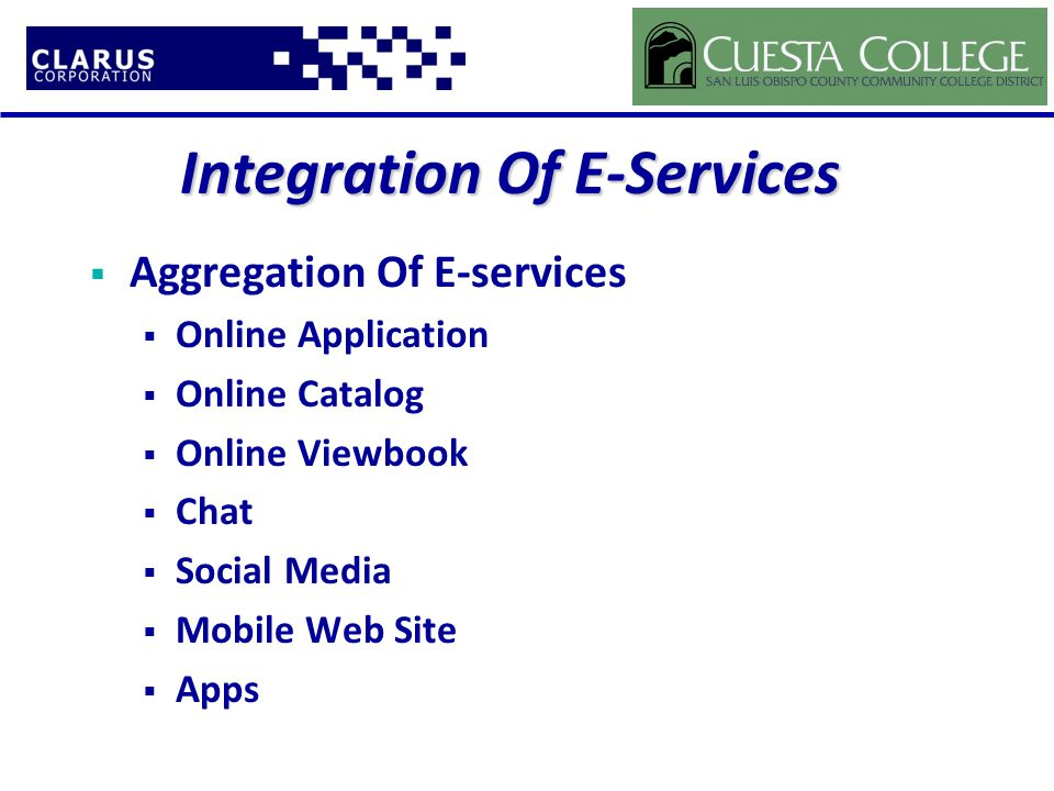 Integration Of E-Services  Aggregation Of E-services  Online Application  Online Catalog  Online Viewbook  Chat  Social Media  Mobile Web Site  Apps