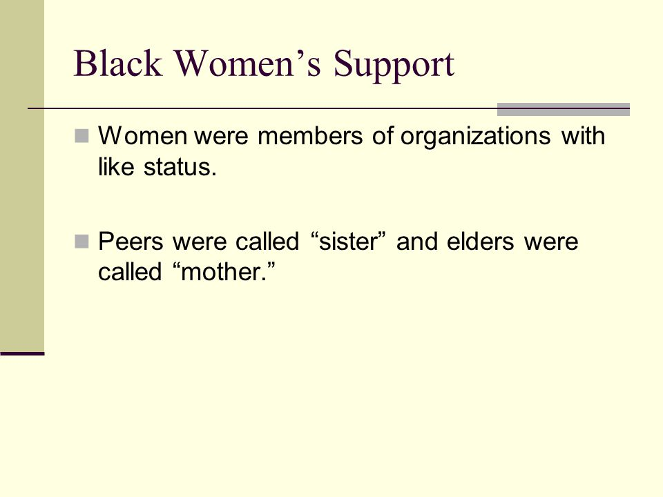Black Women's Support Women were members of organizations with like status.