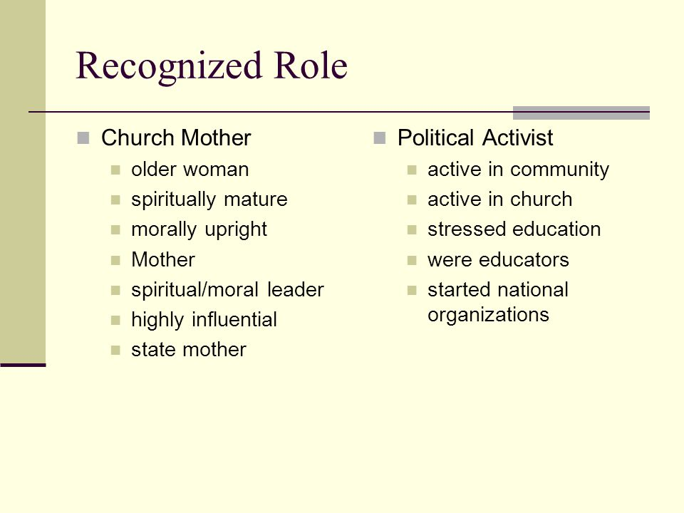 Recognized Role Church Mother older woman spiritually mature morally upright Mother spiritual/moral leader highly influential state mother Political Activist active in community active in church stressed education were educators started national organizations