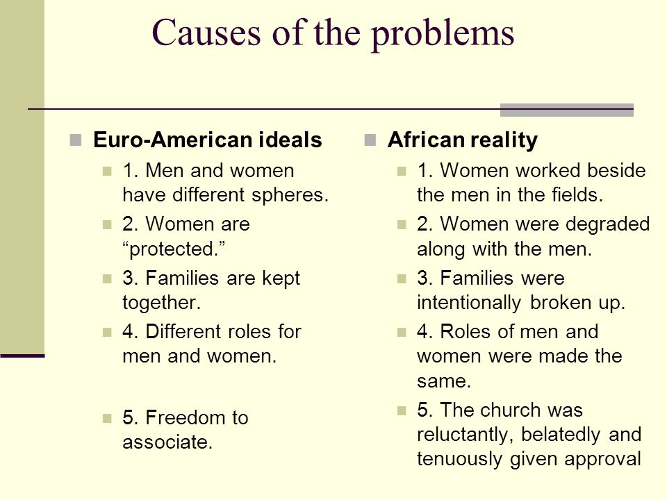 Causes of the problems African reality 1. Women worked beside the men in the fields.