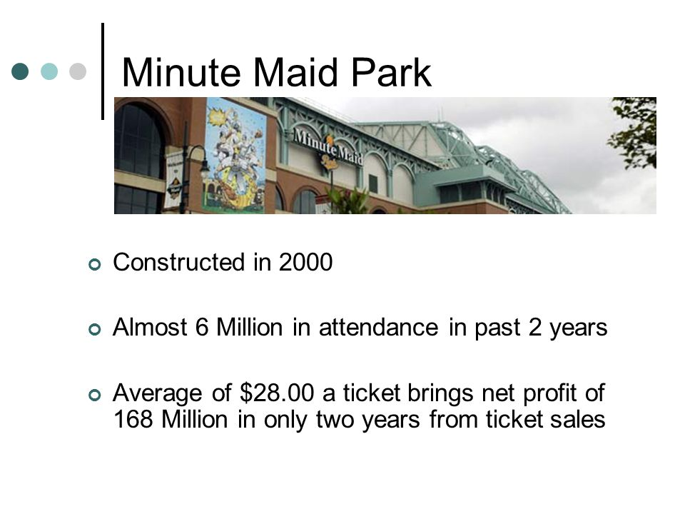 Minute Maid Park Constructed in 2000 Almost 6 Million in attendance in past 2 years Average of $28.00 a ticket brings net profit of 168 Million in only two years from ticket sales