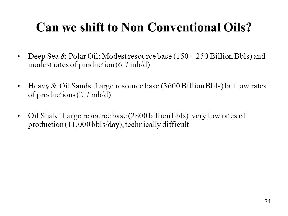 24 Can we shift to Non Conventional Oils.