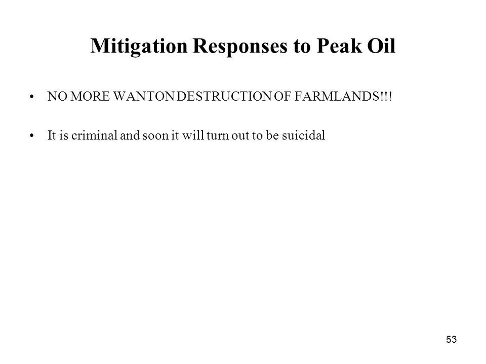 53 Mitigation Responses to Peak Oil NO MORE WANTON DESTRUCTION OF FARMLANDS!!.