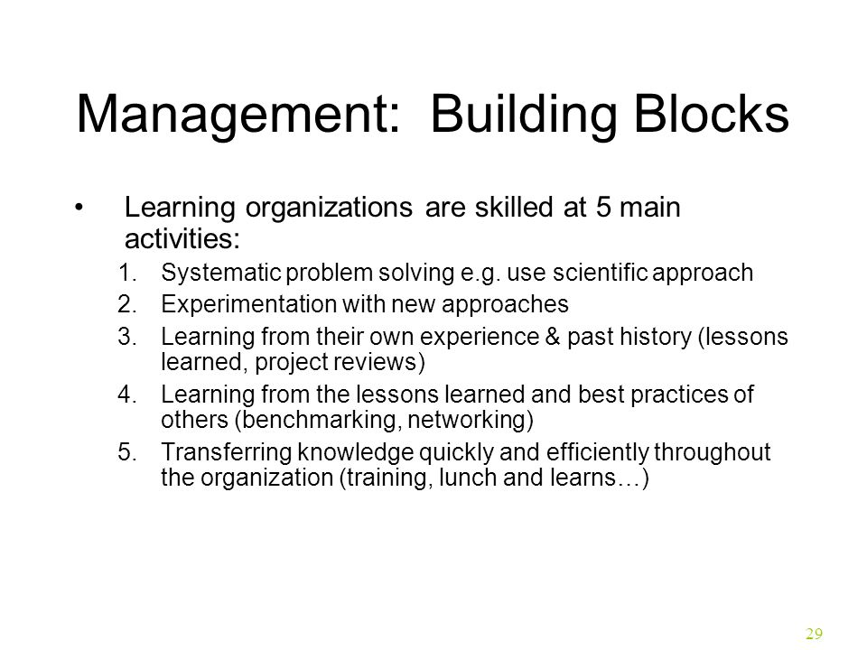 29 Management: Building Blocks Learning organizations are skilled at 5 main activities: 1.Systematic problem solving e.g. use scientific approach 2.Ex